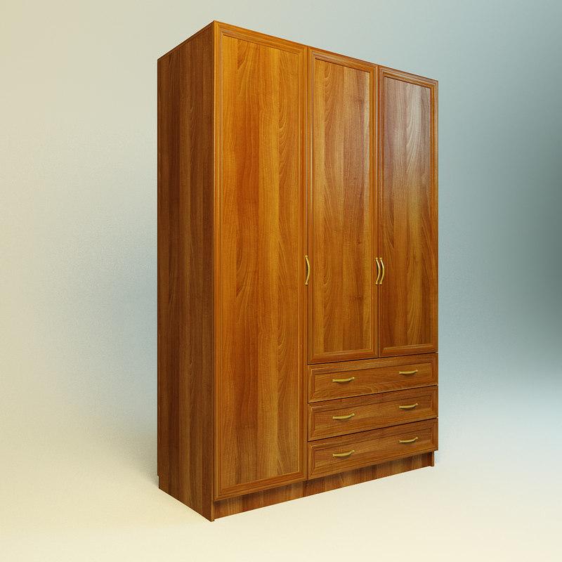 3d model of realistic wood wardrobe