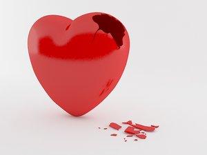 broken heart 3d obj
