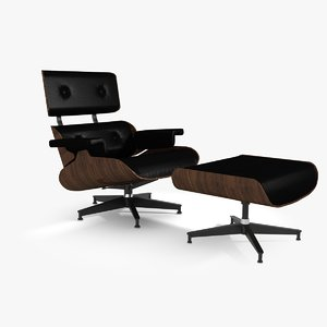 3d model iconic lounge chair ottoman