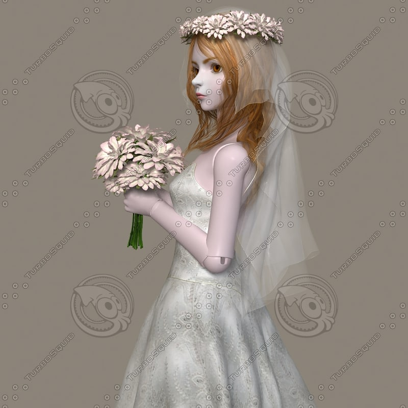 3d bjd bride costume model
