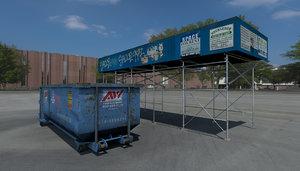 3d construction scaffolding dumpster