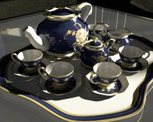 3d model old tea set