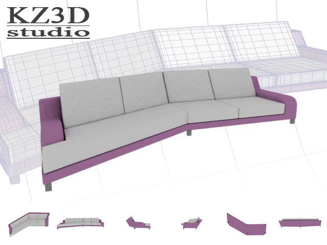 pink long sofa furniture 3d model