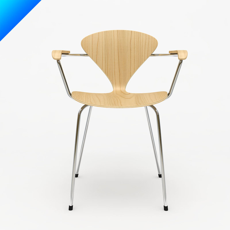 3d cherner metal leg arm chair model