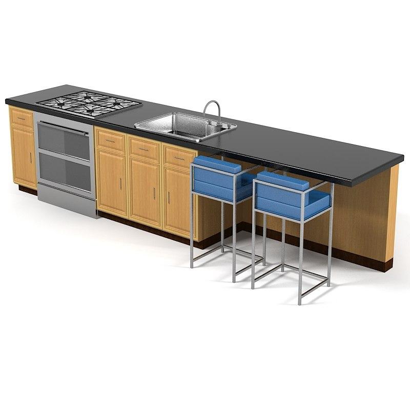 Kitchen 3d Model kitchen island 3d models | turbosquid