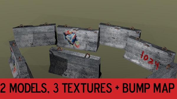 concrete barrier 3ds
