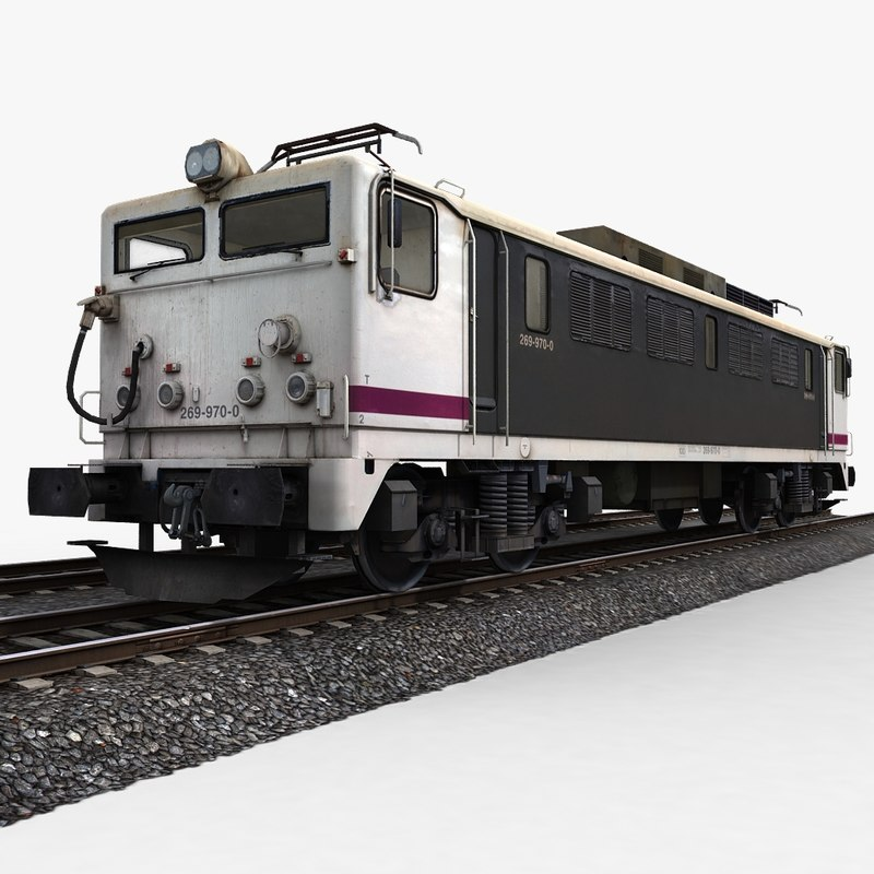 train engine railway tracks 3d model