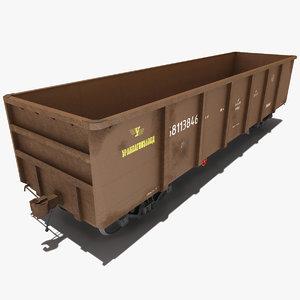 3d model train open gondola