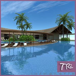 tropical hotel reception resort 3d model