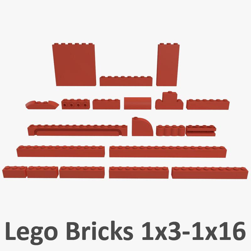 lego bricks - 1x16 3d model