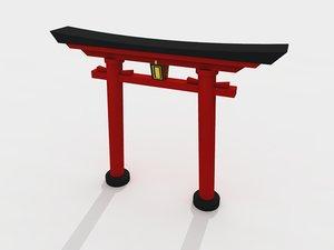 3d torii gate garden japanese model