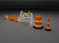 3d model road construction cones
