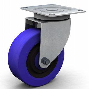 3d model industrial castor wheel 100mm
