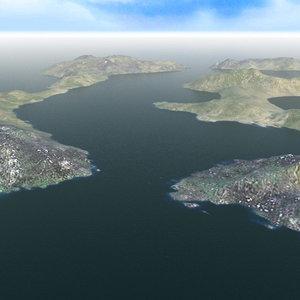 3d ocean islands landscape terrains