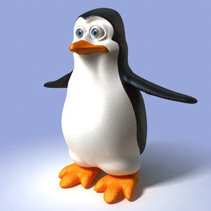 penguin cartoon toon 3d obj