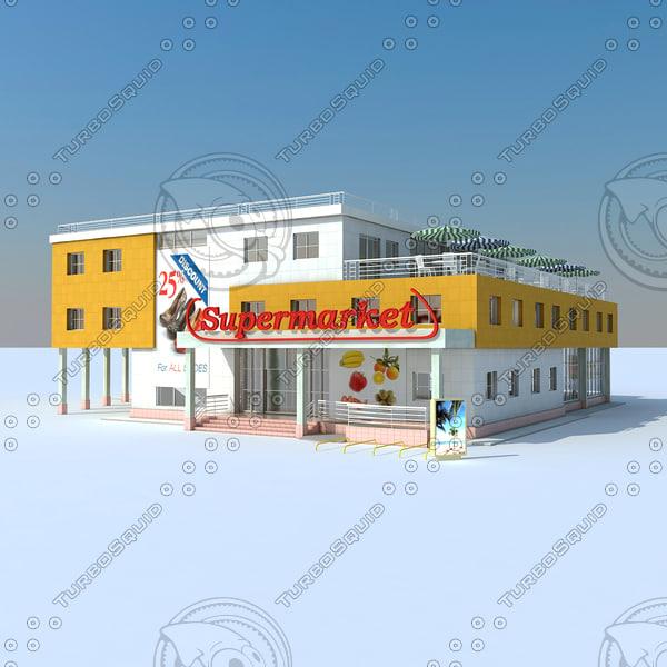 3d model of supermarket scene modelled