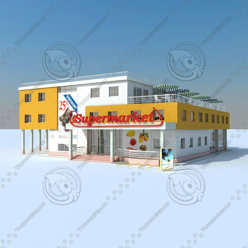 3d model of supermarket scene modelled