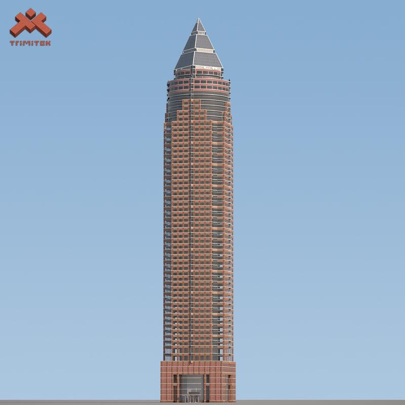 3d model of messeturm skyscraper landmark frankfurt