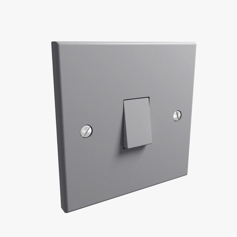 3d uk single light switch