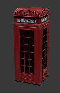 london phone booth 3d obj
