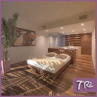 3dsmax tropical bedroom interior