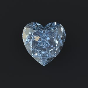 3d heart cut diamond model