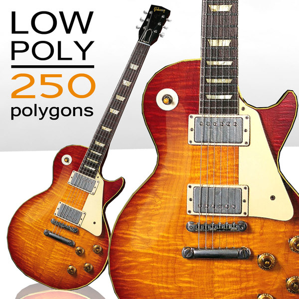 free low-poly gibson les paul 3d model