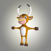 bull cartoon 3d obj