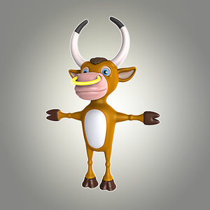 3d bull cartoon model