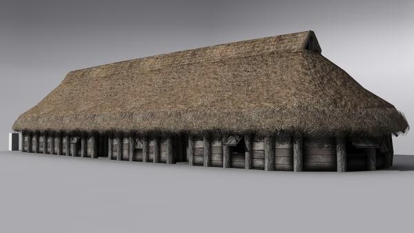 3d longhouse germanic early model