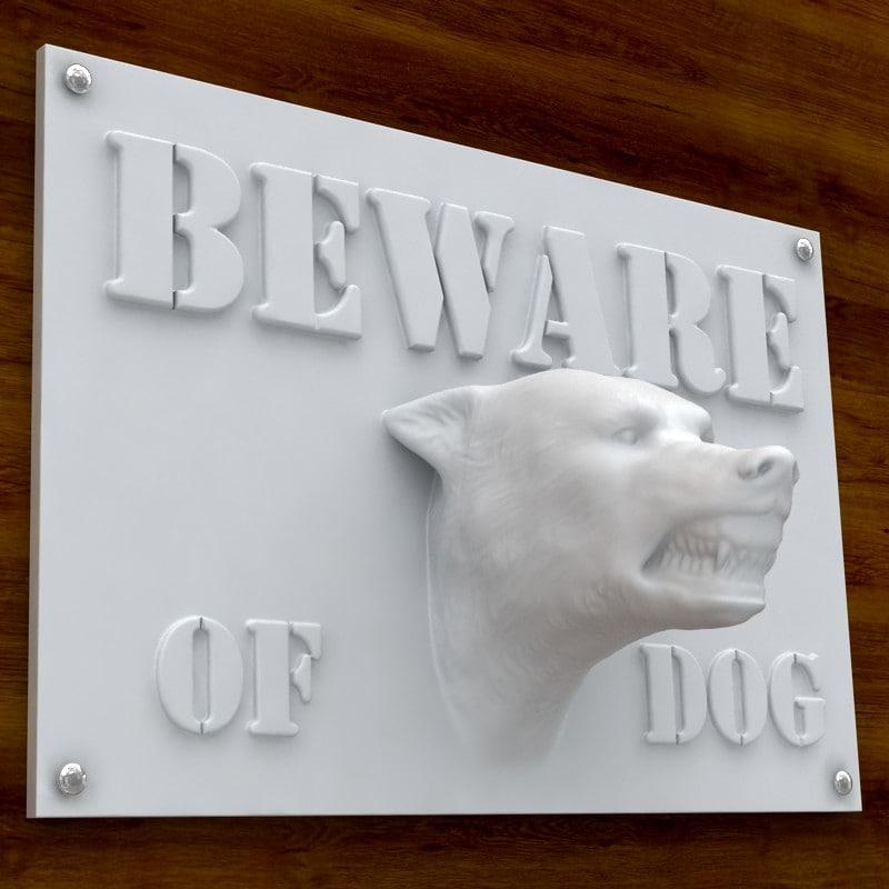 printable beware dog sign obj