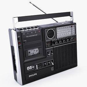philips 664 cassette player 3d x