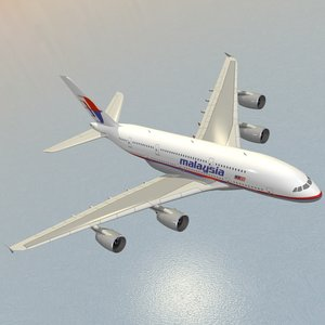 3d airbus a380-800 malaysia airlines