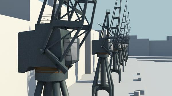 3d old cranes industrial model