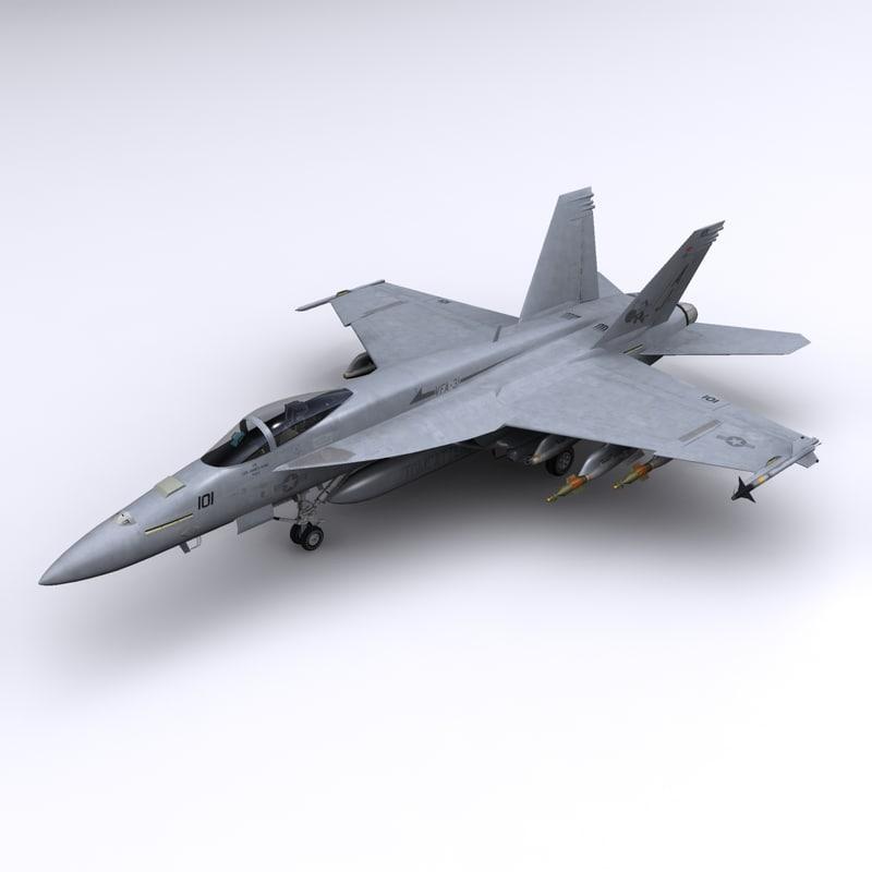 3d super hornet fighter tomcatters model