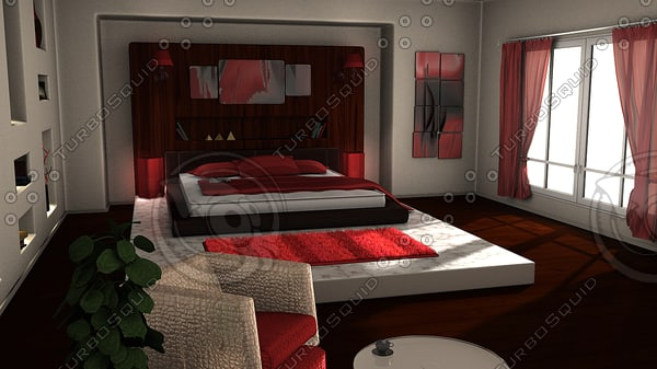 3d x modern bedroom room