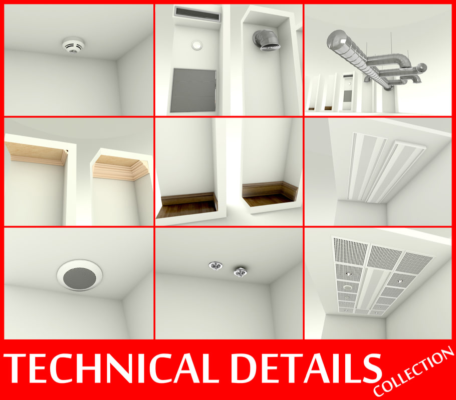 details smoke detector sprinkler 3d model