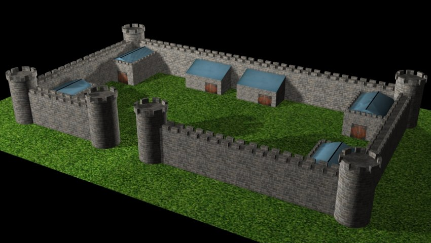 free max model simple stone castle wall