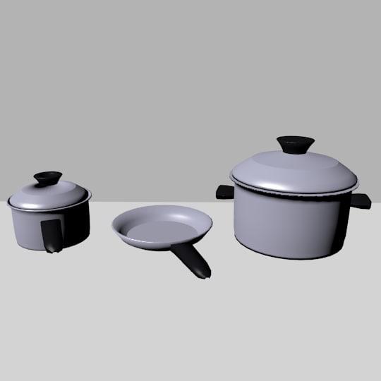3d obj cooking pans
