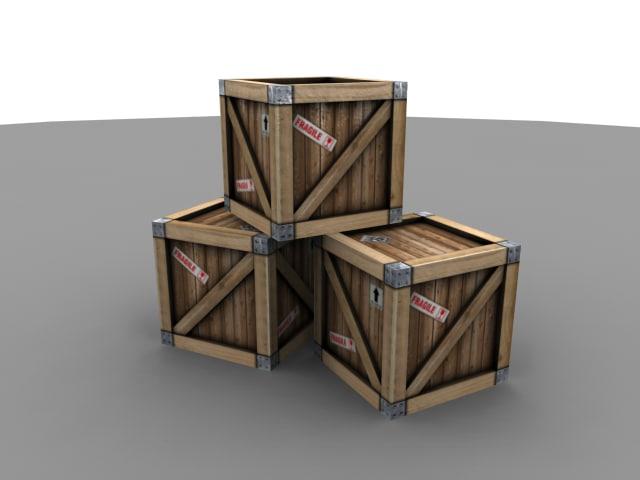 3d wood crate model