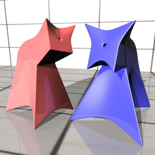 3d model of salt pepper shaker cat dog