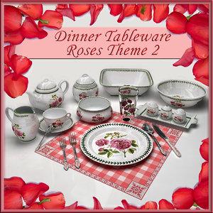 dinner tableware 3d model
