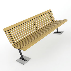 obj wooden park bench