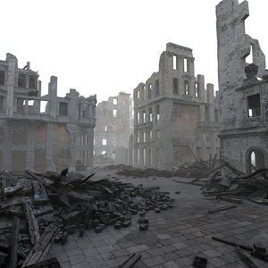 3d model of town destroyed bombing