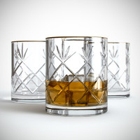 3d realistic glass whiskey ice model