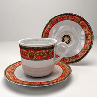 Cup & Saucer Red Border Set
