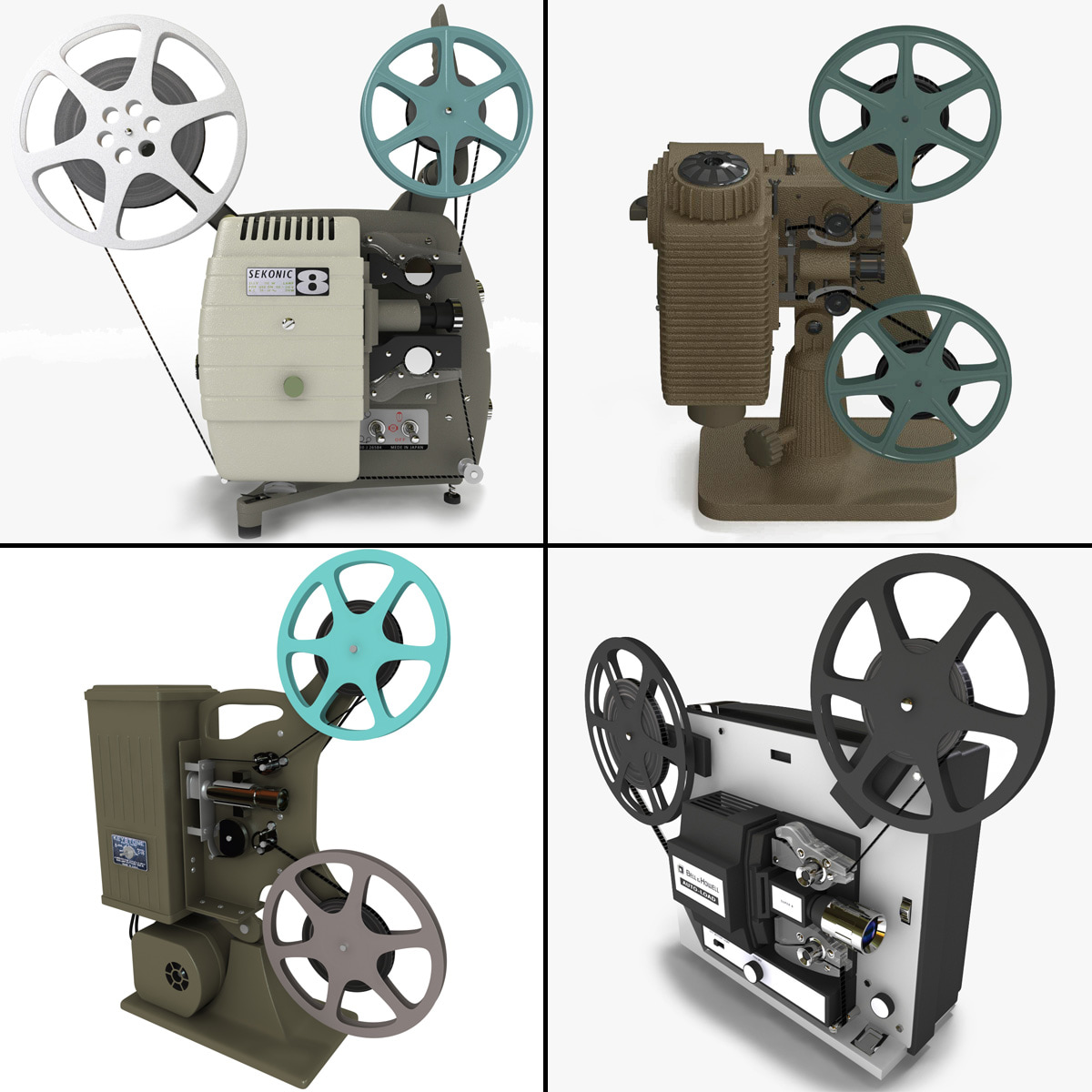old movie projectors 3d model