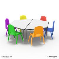 3d model desk chairs