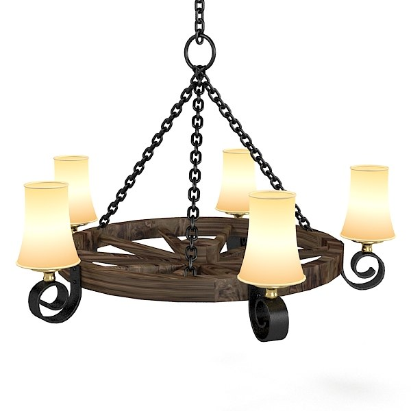 3d Country Style Chandelier Model, Country Style Chandelier
