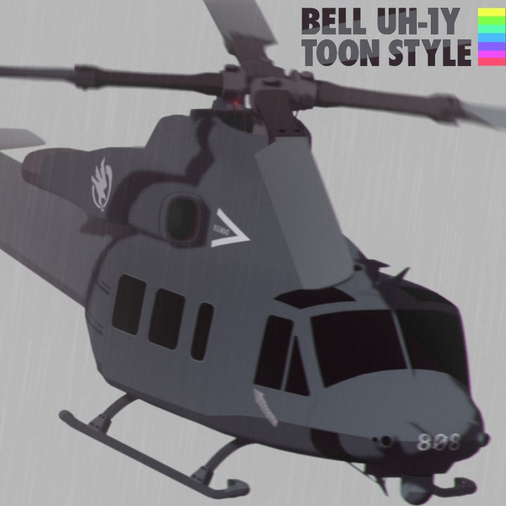 bell uh-1y toon style 3d model